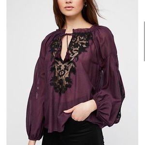 Free People Shimla Embroidered Blouse Size Small